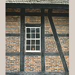 """Fig. 5: """"Fachwerk,"""" or half-timber, construction. Detail from the Single Brothers' House, 1769, Salem, NC."""