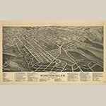 """Fig. 15: """"Birds-Eye View of the Twin Cities, Winston-Salem, North Carolina"""" by Joseph John Stoner and Albert Ruger, 1891, Madison, WI. Ink on paper. Collection of the Wachovia Historical Society / Old Salem Museums & Gardens, Acc. 5797."""