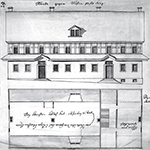 Fig. 17: Plan for the Salem Gemein Haus by Frederick William Marshall, ca. 1770, Salem, NC. Ink on paper. Collection of the Moravian Archives, Herrnhut, Germany.