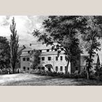"""Fig. 25: """"Young Ladies Seminary"""" drawn by Gustavus Grunewald and published by P.S. Duval, ca. 1840, Philadelphia, PA. Ink on paper. Collection of the Wachovia Historical Society / Old Salem Museums & Gardens, Acc. P-323."""