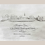 """""""Perspective View of the Church, Parsonage and Schools at Lititz"""" by Elias Alexander Vogler, ca. 1840, Lititz, PA. Ink on paper; HOA: 25"""", WOA: 37"""". Collection of Old Salem Museums & Gardens, Acc. 174.9b."""