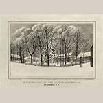 """Fig. 34: """"A Winter View of the Church, Academy &c at Salem, N.C.,"""" drawn by Elias Alexander Vogler, printed by A. Newsome, published by P.S. Duval, 1850, Philadelphia, PA. Ink on paper lithograph; HOA: 12-1/4"""", WOA: 16"""". Collection of the Wachovia Historical Society / Old Salem Museums & Gardens, Acc. P-455, Gift of H.E. Fries."""