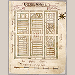 """Fig. 36: """"Hortus Medicus / ad Bethabara Anno MDCCLXI"""" attributed to Christian Gottlieb Reuter, 1761, Bethabara, NC. Ink on paper. Collection of the Moravian Archives, Southern Province, Winston-Salem, NC; MESDA Object Database file S-20185."""