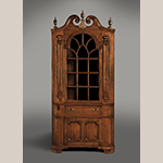 """Fig. 4: Corner cupboard attributed to Jacob Clodfelter, ca. 1790, Davidson Co., NC. Walnut with walnut and yellow pine; HOA: 94"""", WOA: 35-1/2"""", DOA: 15-1/8"""". MESDA Collection, Acc. 3576, Gift of Mr. and Mrs. James W. Douglas."""