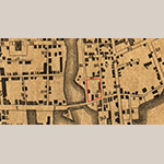 """Fig. 2. Detail from """"Ichnography of Charleston, South-Carolina…"""" by Edmund Petrie, 1788, London, England. Charles Pinckney's plot is outlined in red. Library of Congress. Library of Congress, G3914.C3G475 1788 .P4, Geography and Maps Division, Washington, DC; available online: https://www.loc.gov/item/80692362/ (accessed 2 October 2020)."""