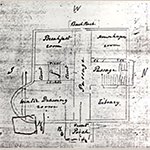 Fig. 5. 1850 floor plan sketch of the Pinckney Mansion. Note the protruding stairwell on the north side of the house.