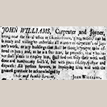 "Fig. 11. John Williams advertisement, ""The South Carolina Gazette,"" 4 June 1750."