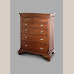 "Fig. 7: Chest of drawers by Moses Crawford, 1790-1800, Knox County, Tennessee. Walnut with yellow pine and tulip poplar; HOA: 49-15/16"", WOA: 39"", DOA: 23-1/2. Private collection, MESDA Research File 11,647."