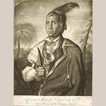 "Fig. 11: ""Cunne Shote, the Indian Chief, A Great Warrior of the Cherokee Nation"" engraved by James McArdell after a painting by Francis Parsons, 1762-1765, London, England. Ink on paper; HOA: 13-12"", WOA: 10"". Collection of the Museum of Early Southern Decorative Arts (MESDA), Acc. 1142.1."