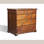"Fig. 18: Chest of drawers by William Beakes III (1691–1761), ca.1720, likely Burlington Co., NJ. Walnut with pine and white cedar; HOA: 34-5/8"", WOA: 40-1/4"", DOA: 22-3/4"". Collection of The Dietrich American Foundation, Acc. 8.2.3.HRD.1811, Chester Spring, PA. Photograph by Christopher Storb."
