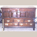 """Fig. 23: Chest-over-drawers, 1746, London Grove Township, Chester Co., PA. Made for Robert and Ann Lamborn; brasses replaced, escutcheon plate appears original. Walnut with white oak, white cedar, and holly; HOA: 33-3/4"""", WOA: 48-3/4"""", DOA: 21-1/4"""". Collection of the Germantown Historical Society / Historic Germantown, Philadelphia, PA."""