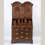 "Fig. 28: Desk and bookcase, 1725–1740, Nottingham area, Chester Co., PA. Cherry with chestnut, tulip poplar, oak, white pine, walnut, and holly; HOA: 76"", WOA: 37-3/4"", DOA: 21-1/2"". Rocky Hill Collection, Photograph courtesy of the Winterthur Museum."