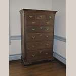 "Fig. 30: High chest of drawers, 1780–1800, Frederick Co., VA. The feet are replacements, probably based on the originals in the Nottingham style. Walnut with tulip poplar and possibly chestnut; HOA: 68-1/2"", WOA: 48-1/2"", DOA: 21-1/2"". Collection of the Winchester-Frederick County Historical Society, Acc. 1998.005.013, Winchester, VA. Photograph by the author."
