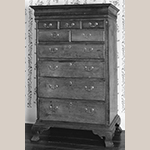 "Fig. 31: High chest of drawers, 1760–1790, Winchester Co. or Frederick Co., VA. History of descent in the Willis-Russell family; the Willises and Russells were Quakers in the 18th century. Walnut with yellow pine and tulip poplar; HOA: 65-3/4"", WOA: 40"", DOA: 22-5/8"". Private collection, MESDA Object Database file S-10684."