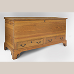 """Fig. 32: Chest, 1780–1810, Frederick Co., VA. Yellow pine with remnants of original red and green paint; HOA: 28-1/2"""", WOA: 55-7/8"""", DOA: 21-5/8"""". Private collection. Photograph by Gary Albert."""