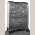 "Fig. 48: High chest of drawers, 1760–1780, Frederick Co., VA or Pennsylvania. This chest has a purchase history in Winchester in the early 1900s. Walnut with poplar; HOA: 61-3/8"", WOA: 42-5/8"", DOA: 22-1/2"". Private collection, MESDA Object Database file S-10773."