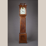 "Fig. 50: Tall case clock with works by Goldsmith Chandlee (1751–1821) and case by Jonathan Ross (1748–1832), 1787, Winchester or Frederick Co., VA. Walnut with yellow pine, iron, brass, and steel; HOA: 90-1/2"", WOA: 18"", DOA: 10-1/4"". Collection of the Museum of the Shenandoah Valley, Acc. 2010.0012. Donated in memory of Rezin Edward Pidgeon (1897–1984). Photograph by Ron Blunt."