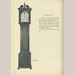"Fig. 58: Tall case clock with works by Benjamin Chandlee Jr. (1723–1791) and case possibly by Jonathan Ross (1748–1832), ca.1769, Chester Co., PA. Cherry with unrecorded secondary woods, brass, silvered brass, and unidentified metals; HOA: 94"", WOA (at hood): 19"". Private collection. Illustrated in Edward E. Chandlee, ""Six Quaker Clockmakers"" (Stratford, CT: New England Publishing, 1975), 96, fig. 54."
