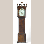 "Fig. 60: Tall case clock with works by Isaac Chandlee (1760–1813) and Ellis Chandlee (1755–1816) and case attributed to Jacob Brown (d.1802), ca.1795, Cecil Co., MD. Walnut with tulip poplar, iron, brass, and steel; HOA: 98"". Private collection. Photograph courtesy Philip Bradley Antiques, Downingtown, PA."