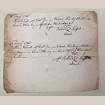 "Fig. 82: Receipt for ""work done"" issued by Richard Fawcett (d.1789) to James Wood (d.1759), 21 August 1745, Frederick Co., VA. Collection of the Stewart Bell Jr. Archives, James Wood Family Papers, 173 WFCHS, Handley Regional Library, Winchester, VA."
