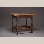 "Fig. 87: Stretcher table attributed to a member of the Fawcett family, possibly Richard Fawcett (d.1789) or John Fawcett Sr. (1716–1786), 1740–1760, Frederick Co., VA. HOA: 29"", WOA: 26-1/2"", DOA (frame at top): 16"", DOA (frame at base): 20"". Walnut; dimension not recorded. Collection of Hopewell-Centre Meeting, Winchester, VA. Photograph by Ron Blunt."