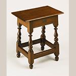 "Fig. 89: Joint stool, 1725–1750, Pennsylvania, possibly Philadelphia area. Walnut; HOA: 23""; WOA: 21-7/8"", DOA: 13"". Collection of the Philadelphia Museum of Art, Acc. 1928-7-54. Gift of Lydia Thompson Morris."