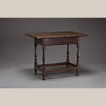 """Fig. 92: Stretcher table attributed to William Janney (1710–1790), ca.1744, Fairfax Co. (now Loudoun Co.), VA. Tulip poplar with yellow pine; HOA: 26-3/4"""", WOA: 35"""", DOA: 23-3.16"""". Collection of Goose Creek Friends Meeting House, Lincoln, VA. Photograph by Ron Blunt."""