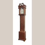 "Fig. 97: Tall case clock with case attributed to John Fawcett Jr. (1749–1811) and/or Thomas Fawcett Jr. (1757–1812), 1800–1820, Frederick Co., VA. Walnut with yellow pine, iron, brass, and steel; HOA: 96-1/2"", WOA: 18-1/2"", DOA: 10-1/2"". Private collection. Photograph by Gary Albert."