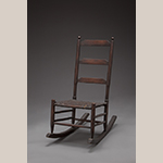 "Fig. 100: Rocking chair, 1830–1860, southern Frederick Co., VA. History of descent in the Steele family of Locust Hill. Hickory (or possibly ash) and white oak; HOA: 34"", WOA: 17"", DOA: 27-1/4"". Private collection. Photograph by Ron Blunt."