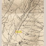 "Fig. 111: Apple Pie Ridge area of northern Frederick County detailed from the map illustrated in Fig. 1. The highlighted ""Lupton"" name on the map corresponds to Cherry Row."