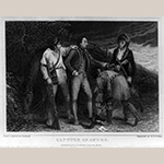 "Fig. 5: ""Capture of Major Andre (1750–1780)"" after Thomas Stothard (1755–1834), engraved by William E. Tucker (1801–1857), published by Samuel Griswold Goodrich (1793–1860), Boston, 1828. Ink on paper; HOA: 9-5/8"", WOA: 6-5/8"". Library of Congress Biographical File filing series, 2015645687, Prints and Photographs Division (Washington, DC)."