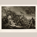 "Fig. 10: ""The Death of General Warren at the Battle of Bunker's Hill"" after John Trumbull, (1756–1843), engraved by Johann Gotthard von Muller (1747–1830), published in Germany, 1798. Ink on paper; HOA: 23"", WOA: 31-1/2"". Collection of Harvard Art Museums/Fogg Museum (Cambridge, MA), Acc. G2840, Gift of William Gray from the collection of Francis Calley Gray."