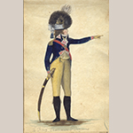 "Fig. 16: ""Officer, 1st Troop Charleston Lt Dragoons,"" ca. 1792, from ""Sketches From Nature"" by Charles Fraser and Alexander Fraser, 1793–1796. Pen, ink, watercolor, and gouache on paper. Collection of The South Carolina Historical Society (Charleston, SC), Acc. 29401. Available online: http://lcdl.library.cofc.edu/lcdl/catalog/lcdl:90400 (accessed 7 June 2016)."