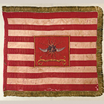 "Fig. 21: Regimental Standard of the 2nd Continental Light Dragoons, captured in 1779 at Pound Ridge (New York) by Lt. Col. Banastre Tarleton. Silk and silk thread, metallic fringe, paint; HOA: 35-1/8"", WOA: 38-3/4"". Courtesy Sotheby's, New York, 14 June 2006 sale, Lot 1."