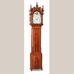 "Fig. 3: Tall Clock with case attributed to John Brown (1761–1835) and movement by clockmaker Samuel Martin (1768–1825), ca. 1800, Wheeling and Wellsburg, WV. Cherry with light and dark wood inlays and tulip poplar; HOA: 105"", WOA: 17-1/2"", DOA: 8-7/8"". Private collection; Photographs courtesy of Sumpter Priddy III American Antiques & Fine Art; Photograph by Dennis McWaters."