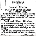 "Fig. 23: Samuel Martin advertisement, ""American Citizen"" (New York, NY), 10 May 1801."