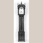 "Fig. 6: Tall Clock with case attributed to John Brown (1761–1835) and movement by clockmaker Hugh Andrews (1761–1821), 1802, Wellsburg, WV. Finials replaced. Cherry and mahogany with light and dark wood inlays and tulip poplar; HOA: 103"". Private collection; Photographs courtesy of Sumpter Priddy III American Antiques & Fine Art. MESDA Object Database file NN-1885, online: https://mesda.org/item/object/clock-tall-case/16489/ (accessed 28 August 2019)."
