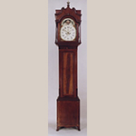 "Fig. 11: Tall Clock with case attributed to John Brown (1761–1835) and movement by Thomas McCarty (b.c.1805–1876), 1820–1825, Wellsburg, WV. Finials and plinths missing. Cherry and cherry veneer with light and dark wood inlays and tulip poplar; HOA: 103"". Private collection; Photographs courtesy of Sumpter Priddy III American Antiques & Fine Art."