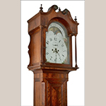 Fig. 13: Tall Clock with case attributed to John Brown (1761–1835) and movement by Thomas McCarty (b.c.1805–1871), ca. 1825, Wellsburg, WV. Dimensions and materials not recorded. Collection of Bethany College; Photographs courtesy of Archives & Special Collections, T. W. Phillips Memorial Library, Bethany College, Bethany, WV; Photograph by Sharon Monigold.