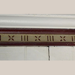 Fig. 20: Detail of gouge cut decoration in the parlor frieze, Alexander Campbell Mansion, Bethany, WV; Photograph by Sharon Monigold.