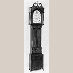 "Fig. 24: Tall Clock with movement by Samuel Martin (1768–1825) and case by an unidentified cabinetmaker, ca. 1805, New York, NY. Mahogany and satinwood with holly inlays and tulip poplar; HOA: 96"". Collection of J. William Middendorf II (illustrated in James Biddle, ""American Art from American Collections"" [New York: Metropolitan Museum of Art, 1963], p. 45, fig. 89; available online: https://www.metmuseum.org/art/metpublications/American_Art_from_American_Collections?Tag=&title=&author=Biddle&pt=0&tc=0&dept=0&fmt=0 (accessed 28 August 2019)."