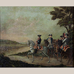 "Fig. 1: ""Frederick II Reviewing the Troops at Potsdam"" attributed to Frederick Kemmelmeyer (w.1788-1816); Baltimore, MD; circa 1788-1799. Oil on paper on canvas; HOA: 15"", WOA: 16"". Private collection. MESDA Research File NN-1220."