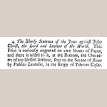 "Fig. 10: Description of the print titled ""The Bloody Sentence of the Jews Against Jesus Christ the Lord and Saviour of the World"" from John Bowles's 1728 catalog of maps, prints, books, and books of maps."