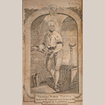 """Fig. 12: """"Frederic Baron Trenck, loaded with 68 pounds w.t of Irons, in the Dungeon of Magdeburg, engraved for the Columbian Magazine by an unknown engraver. Frontispiece from The Life of Baron Frederic Trenck, Containing His Adventures, His Cruel and Excessive Sufferings, During Ten Years Imprisonment, at the Fortress of Magdeburg, By Command of the Late King of Prussia; Also, Anecdotes, Historical, Political and Personal"""" (Printed in Philadelphia by William Spotswood, 1790). Ink on paper; HOA: 5-3/4"""", WOA: 3-3/8"""". Private collection."""