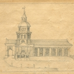 "Fig. 1: St. Philip's Church (1723-1835), attributed to Thomas You; Charleston, SC; c. 1766. Pencil on paper; HOA: 4-3/8"", WOA 5-5/8"". From the Collections of the South Carolina Historical Society."