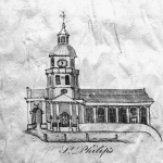 "Fig. 2: St. Philip's Church (1723-1835), attributed to Thomas You; Charleston, SC; 1766-1800. Ink on silk; HOA: 3-3/4"", WOA 3-7/8"". Private collection; MESDA Research File (hereafter MRF) 8194."