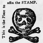 Fig. 4: Faux duty stamp printed in a 1765 issue of the Pennsylvania Journal and Weekly Advertiser; unknown artist; Philadelphia, PA.