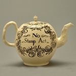 "Fig. 5: ""No Stamp Act"" teapot; unknown maker; Engand; c. 1765. Creamware; HOA: 5"". Collection of the Smithsonian Institution, acc. 2007-11593."