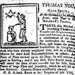 Fig. 9: Advertisement for silversmith Thomas You; 30 June 1767; South Carolina Gazette, and Country Journal; Charleston, SC.