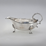 "Fig. 12: Sauceboats marked by Daniel You, Charleston, SC, 1750; silver; HOA 3-1/2"", LOA 6-3/8"". MESDA Acc. 3407.1-2."
